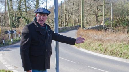 Stuart Hughes at the new bus stop in Sidbury. Ref shs 09 18TI 8488. Picture: Terry Ife