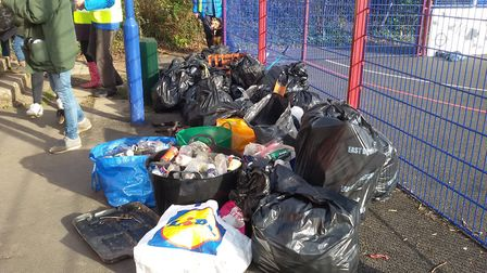 Sidmouth Plastic Warriors collect 30 bags of rubbish and recycling.