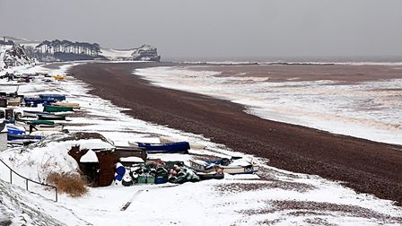 It was absolutely freezing on Budleigh beach this morning. Picture: Barbara Mellor
