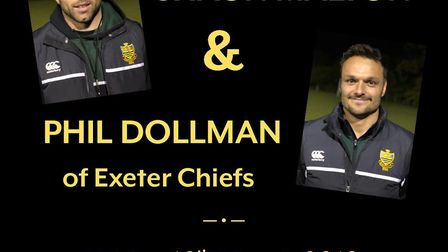 Sidmouth RFC 'An evening with Shaun Malton and Phil Dolman poster.
