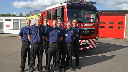 Honiton Community Fire Station crew members launch their fundraising appeal to buy a fire engine for
