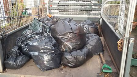 The bags of rubbish collected in the clean up.