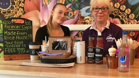 The Filling Station co-owner Ros Kendall with Abbie Preston