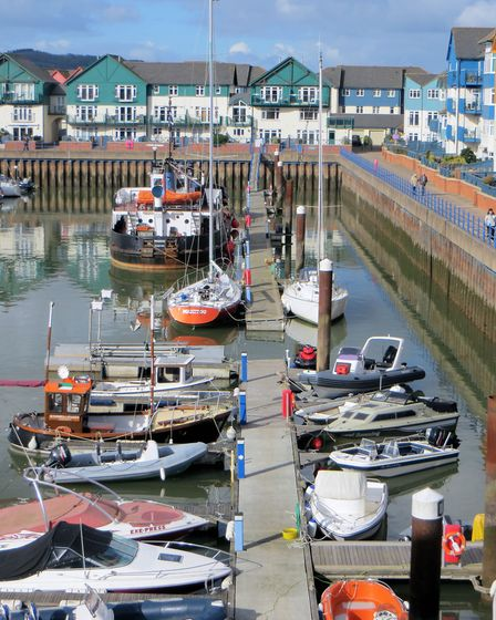 Pontoons and boats cleared from Exmouth Marina prior to dredging operations. Picture: Ian McLauchlin