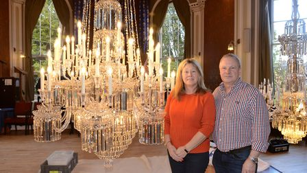The restoration of the Sidholme's largest chandelier is complete. Restorers Mandy and David Wilkinso