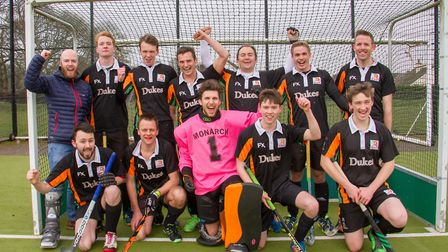Sidmouth & Ottery 1st hockey team celebrate their recent success. Ref shsp 12 18TI 9561. Picture: Te