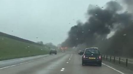 A coach fire damaged the A30 near Daisymount. Picture by Victoria Burgoyne.