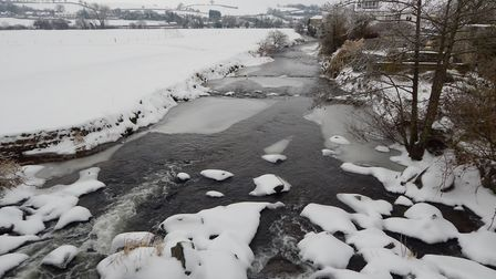 Colyton river during the spring snow. Picture: Martin Lee
