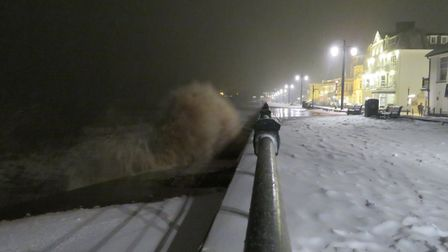 Spring high tide meets snowy conditions. Picture: Laura Thompson