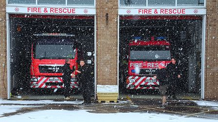 I took this picture of my colleagues at Sidmouth Fire Station. They decided to throw snowballs at me