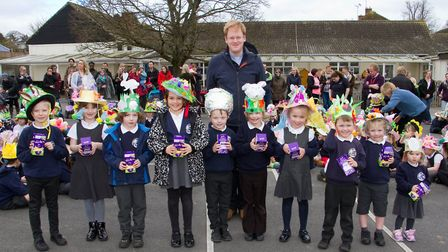 Easter bonnet parade winners with judge Rev David Caporn of All Saints Church. Ref shs 13 18TI 0261.