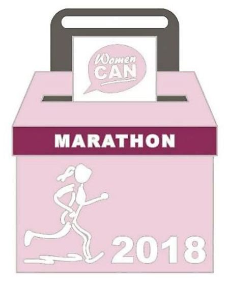 The special memdal that has been struck to hand out to all runners at the 2018 Women Can Marathon.