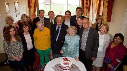 Jane Wilcox celerating her 100th birthday. Ref shs 12 18TI 0090. Picture: Terry Ife