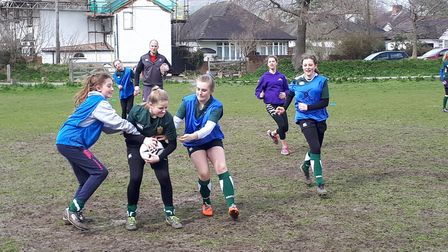 Sidmouth junior girls U13s action