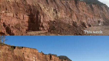 Before and after the latest cliff fall.
