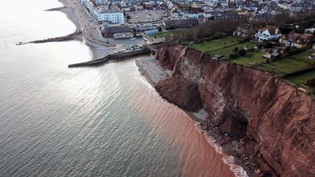 Danny Whittle captured this aerial shot of the latest cliff fall in Sidmouth.