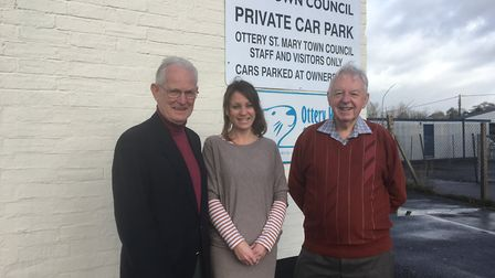 Helen Harms, chief officer for Ottery Help Scheme, with Paul Ritchie and David Roberts from Ottery L