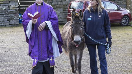 Sidmouth 25th Mar 18. Ponk the Donk took a starring roll at the Palm Sunday service at Salcombe Regi