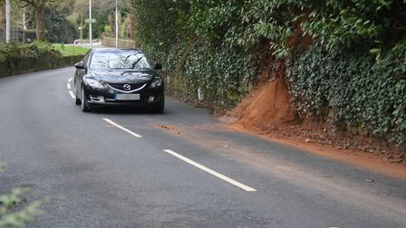 Part of the embankment along Station Road in Sidmouth has fallen away. Picture: Richard Wright