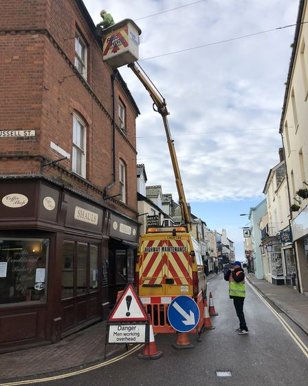 A cherry picker was out to help clean gutters on the first task force day.