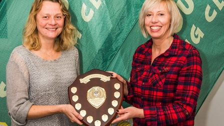 Debbie Marriott with Sidmouth Running Club vice chairman Becky Robson. Picture KYLE BAKER