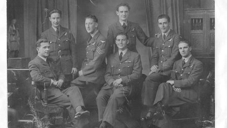 A photo of 96 year old WWII Lancaster pilot Les Harlow when he was aged 22. Les was awarded the Dis