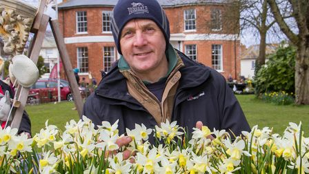 Nick Wade of Gardeners Delight Nursery at the Daff Day at Kennaway House. Ref shs 14 18TI 0723. Pict