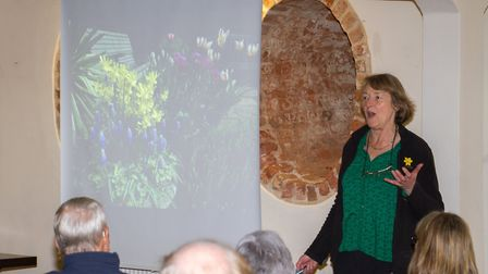 Lady Christine Skelmersdale give a talk at Daff Day at Kennaway House. Ref shs 14 18TI 0701. Picture