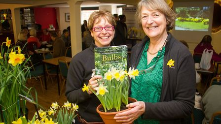 Organiser Sally Blyth with Lady Christine Skelmersdale at the Daff Day at Kennaway House. Ref shs 14