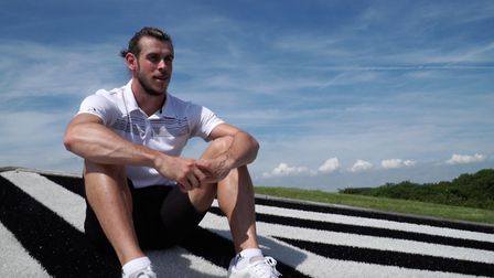 Gareth Bale on his new course built by Sidmouth man Warren Bailey.
