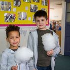 Enjoying the candy floss at Sidmouth Primary Easter Fair. Ref shs 13 18TI 0351. Picture: Terry Ife
