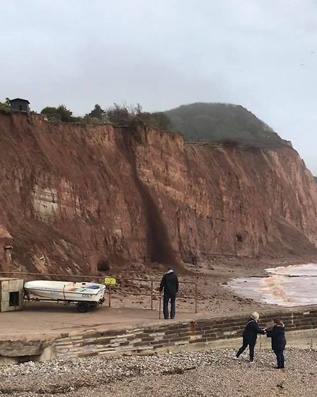 Cliff fall at Sidmouth East Beach on Tuesday, April 3. Picture: Anne Bishop