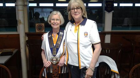 Sidmouth Bowls Club president Pat Harvie and chairperson Suzie.Bonnell