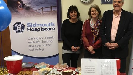 (Left to right) Debbie Snelgrove and Gill Ryall of Sidmouth Hospiscare and Neil Gamble, the chairman
