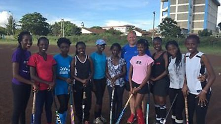 Sidmouth's Gus Mcvey with the Tititans team during his trip to Zimbabwe and Kenya
