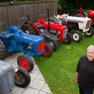 Mike Jarvis with his tractors. Ref ehr 38 17TI 1105. Picture: Terry Ife