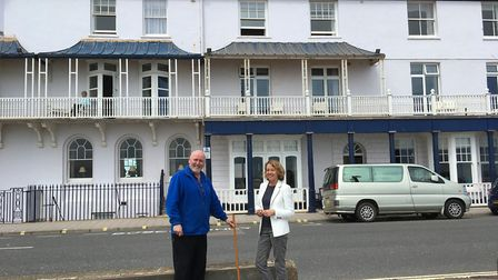 Mike Littler of Housewares with his metre rule and Sara Hook, owner Royal York and Faulkner Hotel