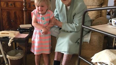 Joanna and her great-granddaughter Billie, on her birthday.