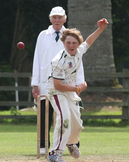 Dom Bess bowling for Sidmouth 2nd's against Bovey Tracey. Photo by Terry Ife ref shsp 9621-32-12TI T