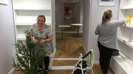 Hannah Burford-Campbell and Christine Reed make final preparations for new Travel World branch