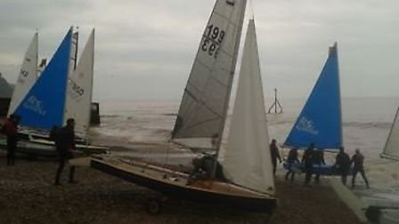 Sidmouth Sailing Club members getting dinghys ready for action. Picture: CHRIS CLAPP