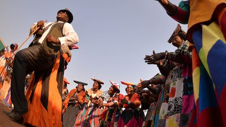 Member of the cultural group Herero perform during the 17th Kuru Festival in Ghanzi, on August 29, 2