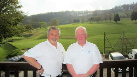 Sidmouth B team captain Mike Dommett and Emerton Court seniors' captain Nick Bater before the first