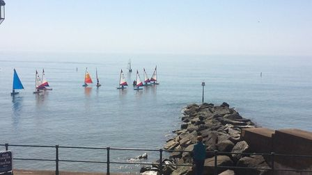 Calm conditions for sailing off Sidmouth