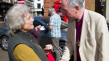 The Bishop of Exeter, The Right Revd Robert Atwell on a walkabout in Sidmouth. Ref shs 18 18TI 3047.
