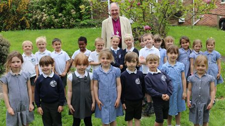 The Bishop of Exeter meets children from Sidmouth Primary School