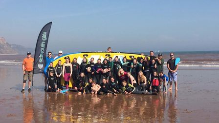 Sidmouth RFC girls section enjoying their 'Fun in the sun on the beach' event to round off another s