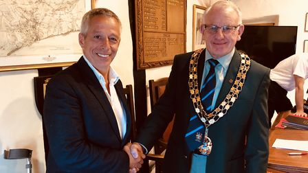 The town council's new Vice Chairman Cllr Ian Barlow with the Chairman Cllr Ian Mckenzie-Edwards.
