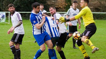Ottery 1st team at home to Crediton Utd 2nds. Ref shsp 15 18TI 1041. Picture: Terry Ife