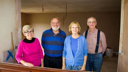 David and Rosemary Zirker with Malcolm and Sue Burge in what will soon be the new kitchen at Newton